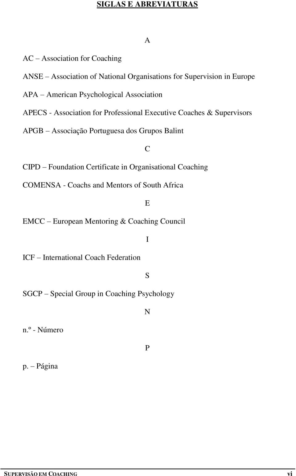 Balint C CIPD Foundation Certificate in Organisational Coaching COMENSA - Coachs and Mentors of South Africa E EMCC European Mentoring &