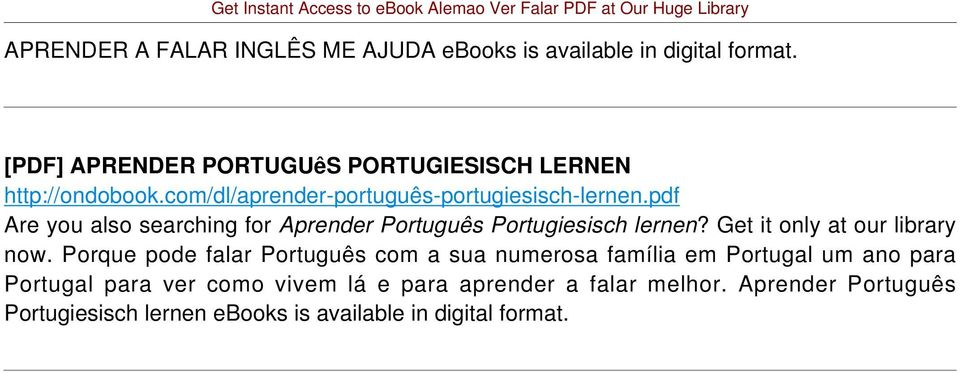 pdf Are you also searching for Aprender Português Portugiesisch lernen? Get it only at our library now.
