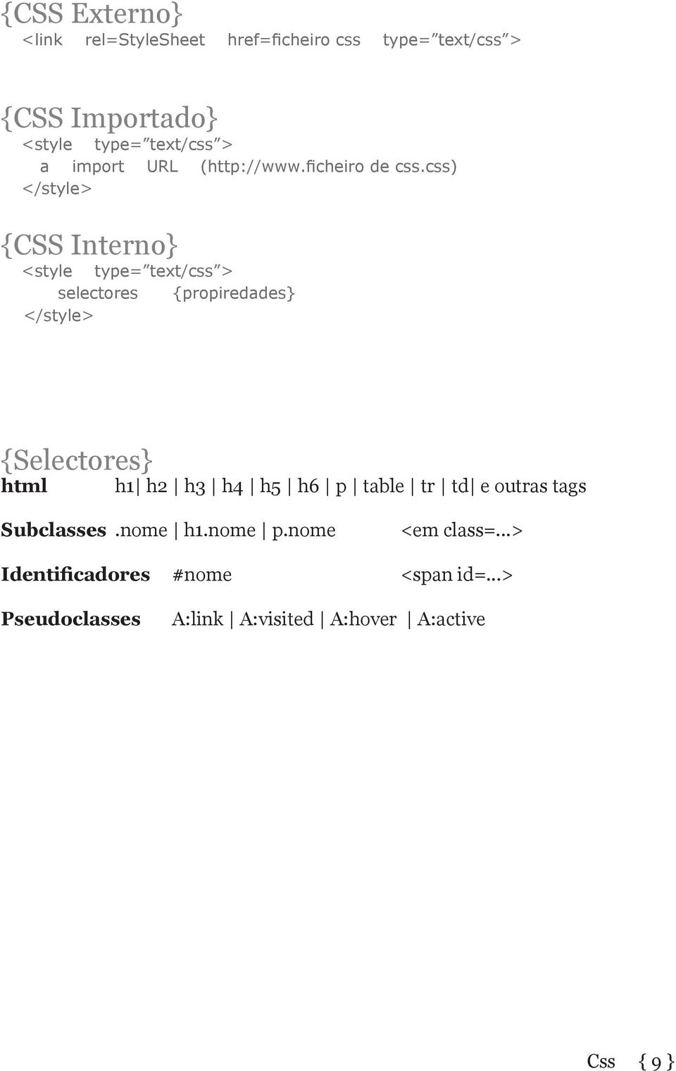 css) </style> {CSS Interno} <style type= text/css > selectores {propiredades} </style> {Selectores} html h1