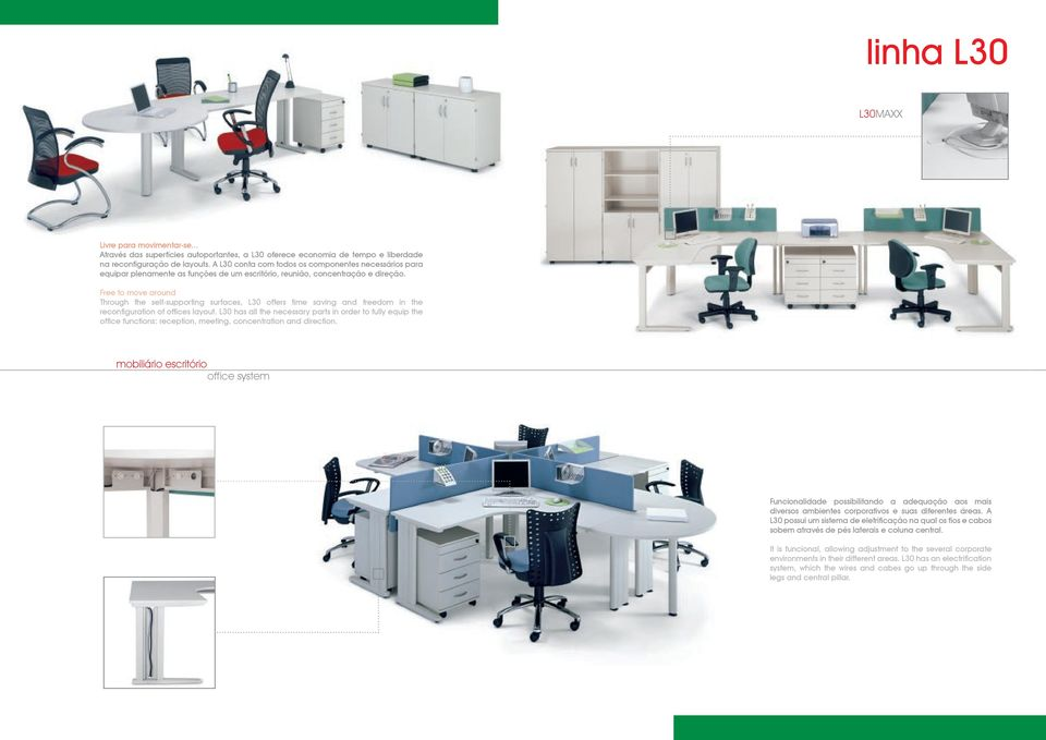 Free to move around Through the self-supporting surfaces, L30 offers time saving and freedom in the reconfiguration of offices layout.