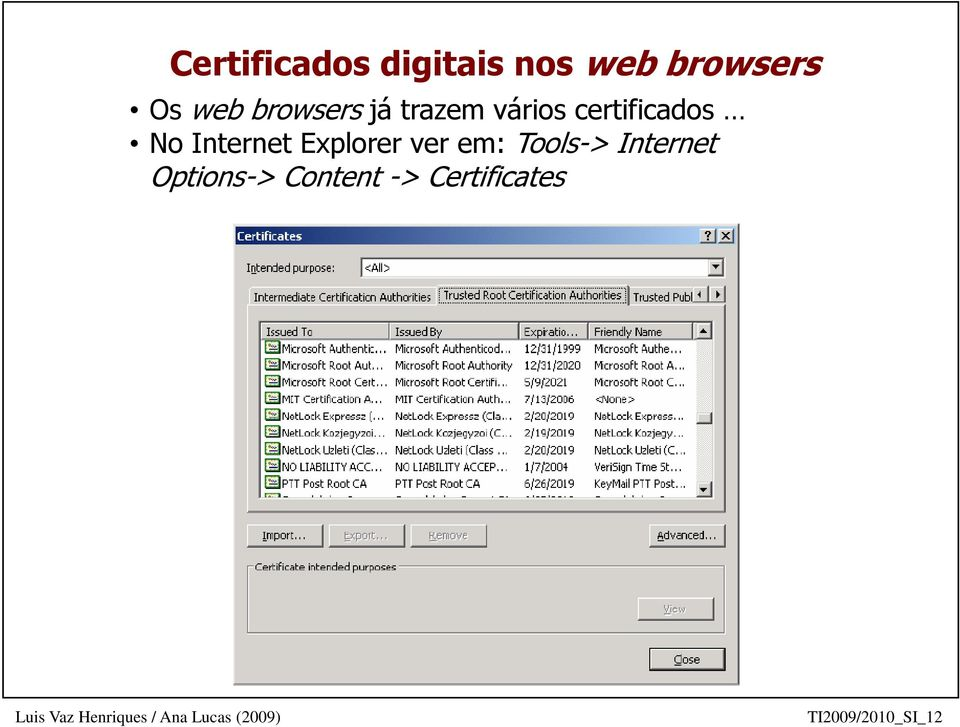 Internet Explorer ver em: Tools-> Internet