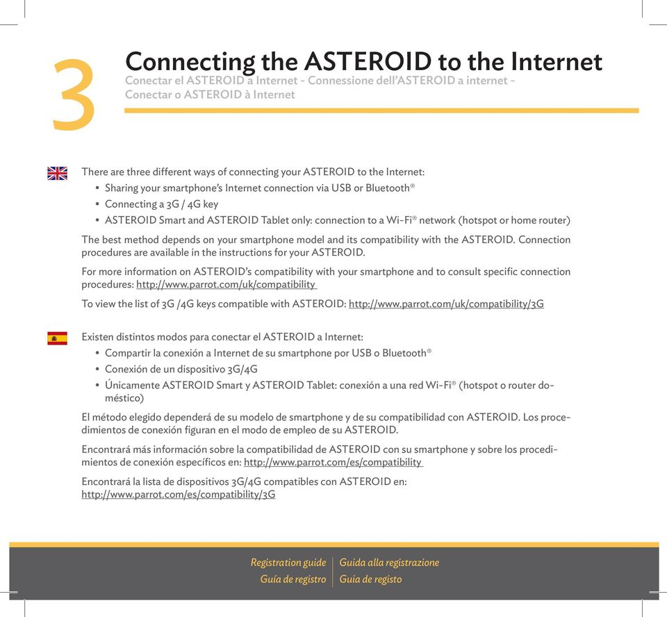 or home router) The best method depends on your smartphone model and its compatibility with the ASTEROID. Connection procedures are available in the instructions for your ASTEROID.