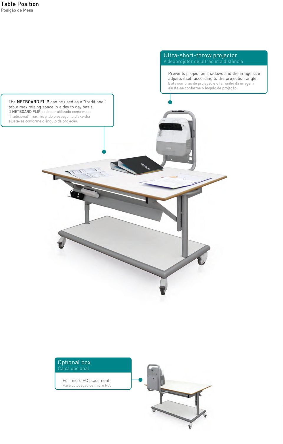 "The NETBOARD FLIP can be used as a ""traditional"" table maximizing space in a day to day basis."