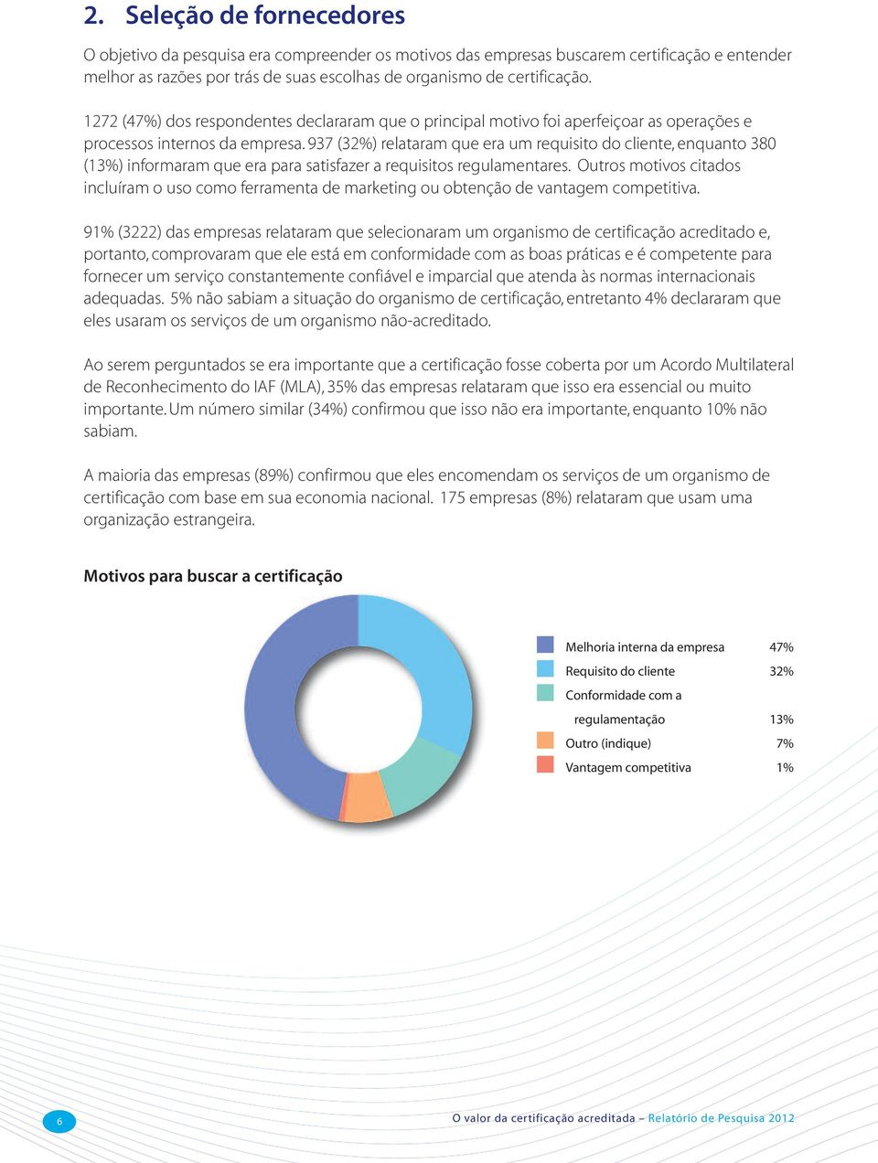 937 (32%) relataram que era um requisito do cliente, enquanto 38 (13%) informaram que era para satisfazer a requisitos regulamentares.
