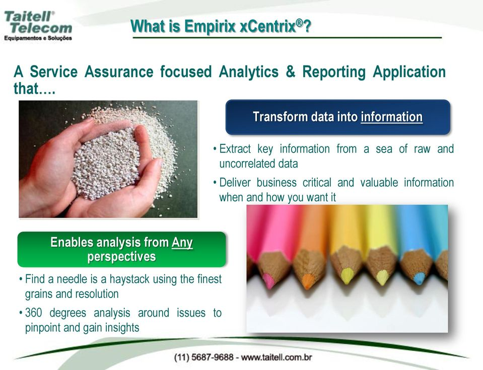 business critical and valuable information when and how you want it Enables analysis from Any perspectives