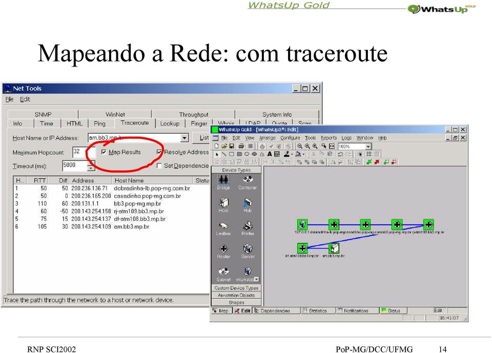 traceroute RNP