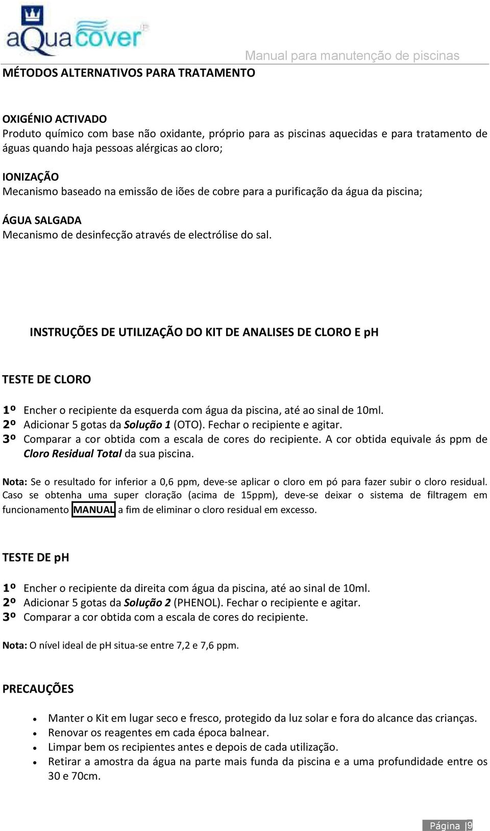Manual para manuten o de piscinas pdf for Manual de construccion de piscinas pdf