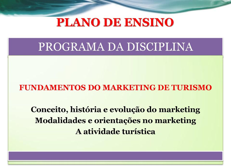 e evolução do marketing Modalidades e