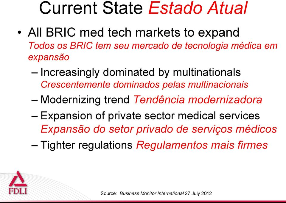 Modernizing trend Tendência modernizadora Expansion of private sector medical services Expansão do setor