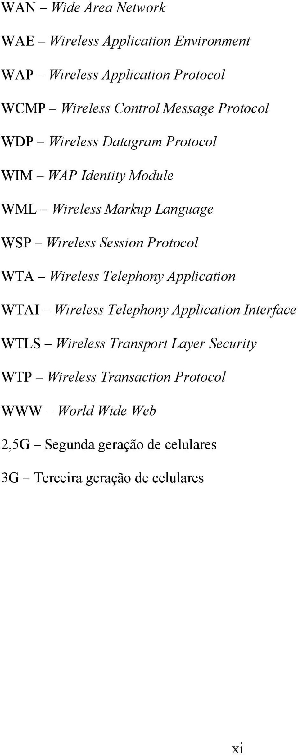 Protocol WTA Wireless Telephony Application WTAI Wireless Telephony Application Interface WTLS Wireless Transport Layer