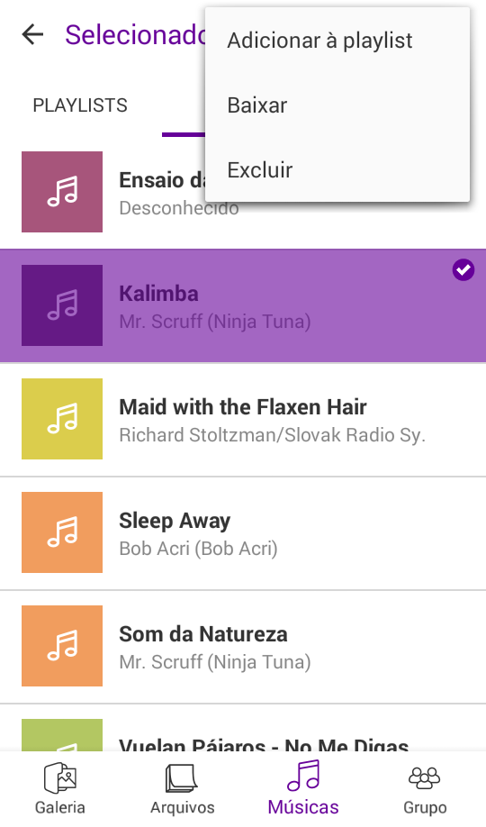3.2.3.5 Playlists Na Aba Playlists você reproduz as músicas de forma organizada e separada por Playlists.