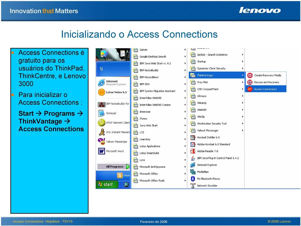 inicializar o Access Connections : Start Programs