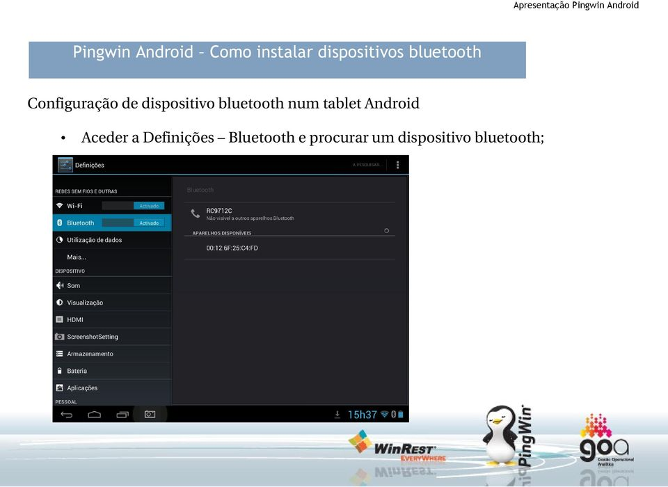 bluetooth num tablet Android Aceder a