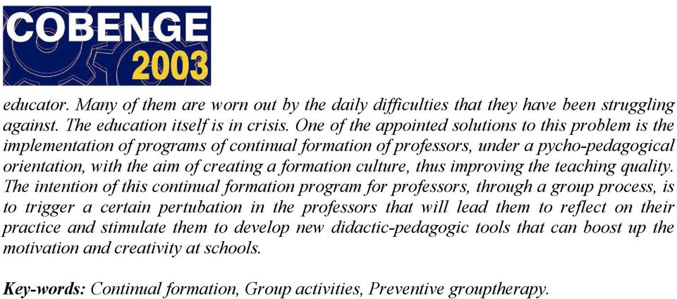 formation culture, thus improving the teaching quality.