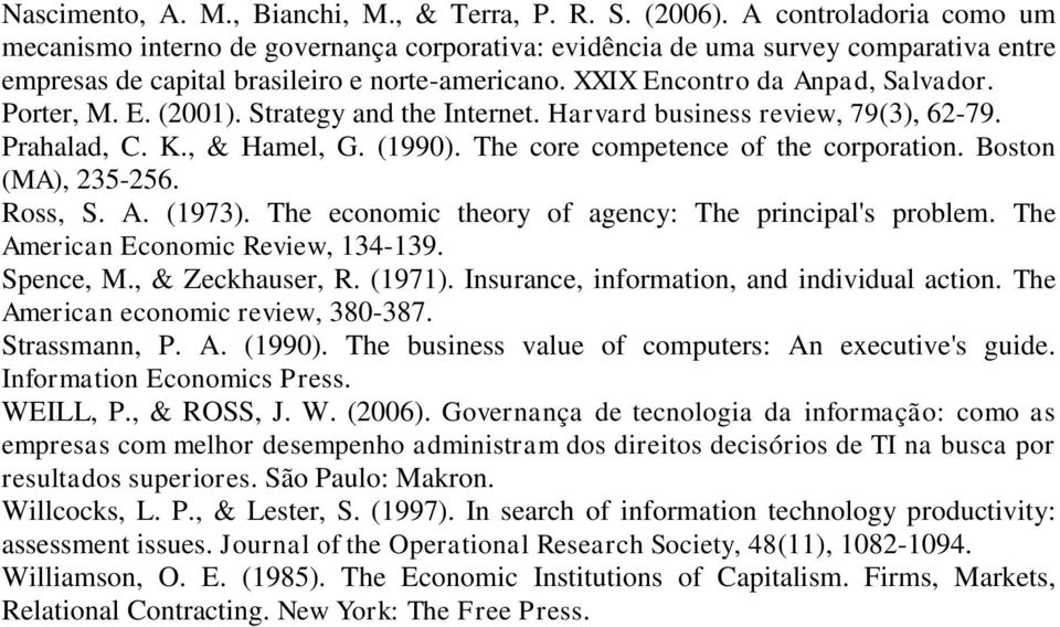 Porter, M. E. (2001). Strategy and the Internet. Harvard business review, 79(3), 62-79. Prahalad, C. K., & Hamel, G. (1990). The core competence of the corporation. Boston (MA), 235-256. Ross, S. A.