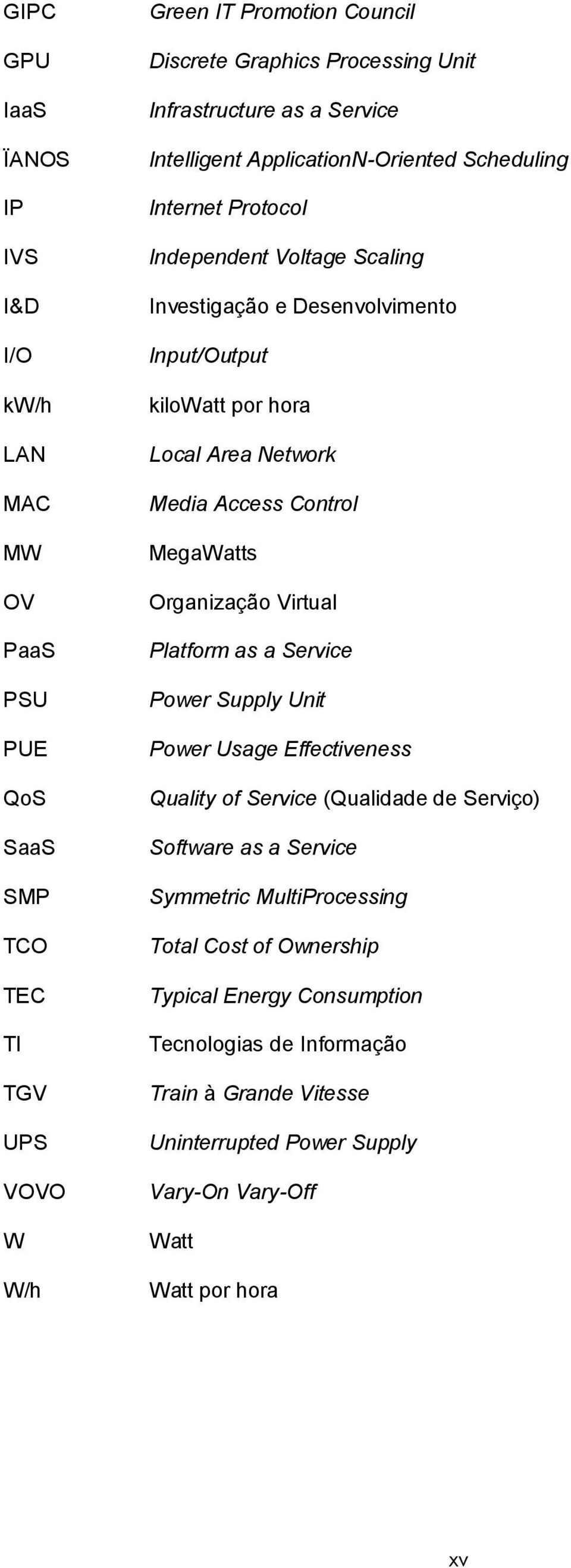 Media Access Control MegaWatts Organização Virtual Platform as a Service Power Supply Unit Power Usage Effectiveness Quality of Service (Qualidade de Serviço) Software as a Service