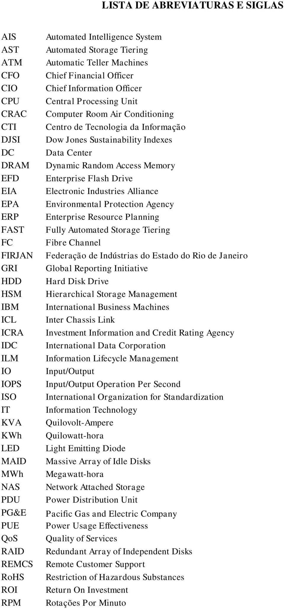 Conditioning Centro de Tecnologia da Informação Dow Jones Sustainability Indexes Data Center Dynamic Random Access Memory Enterprise Flash Drive Electronic Industries Alliance Environmental