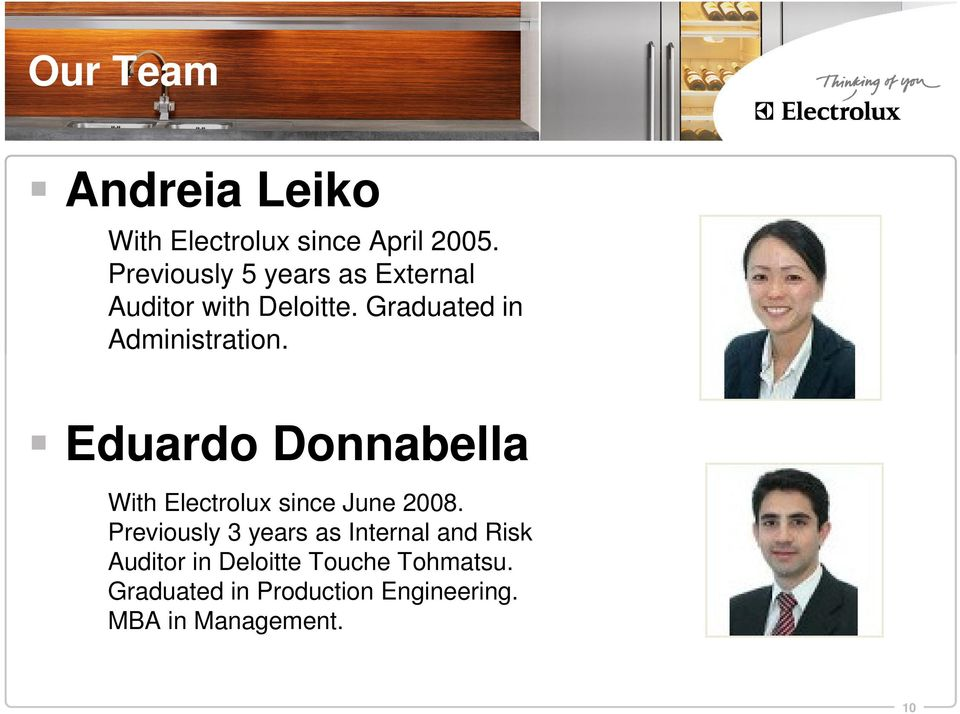 Eduardo Donnabella With Electrolux since June 2008.