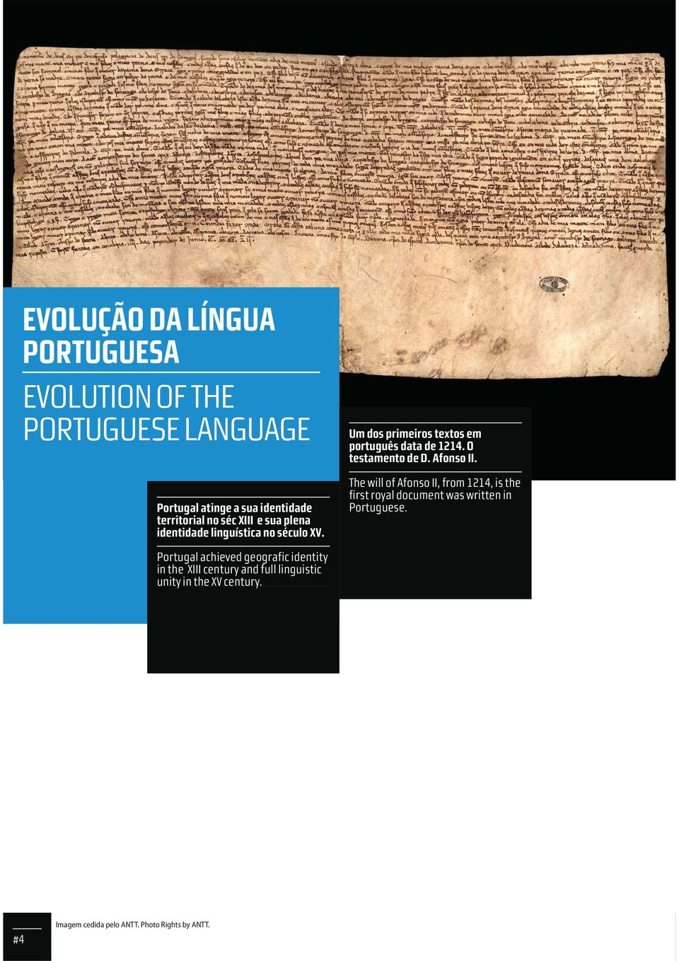 O testamento de D. Afonso II. The will of Afonso II, from 1214, is the first royal document was written in.