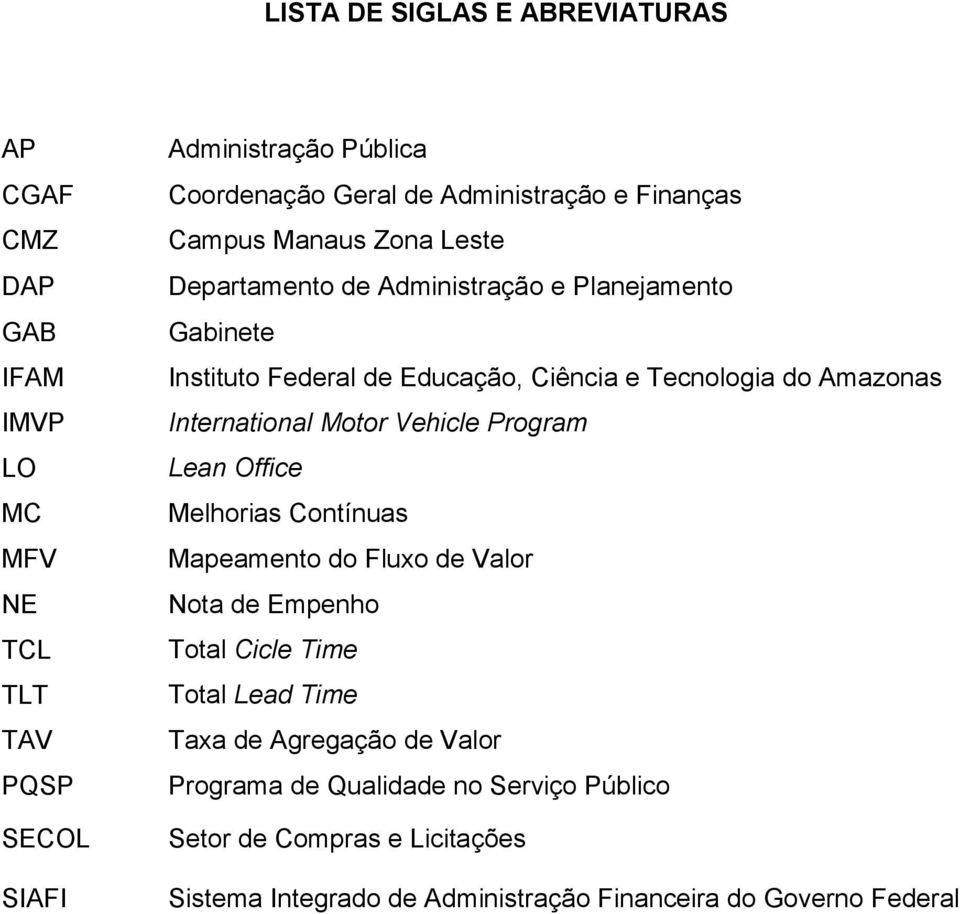 do Amazonas International Motor Vehicle Program Lean Office Melhorias Contínuas Mapeamento do Fluxo de Valor Nota de Empenho Total Cicle Time Total Lead