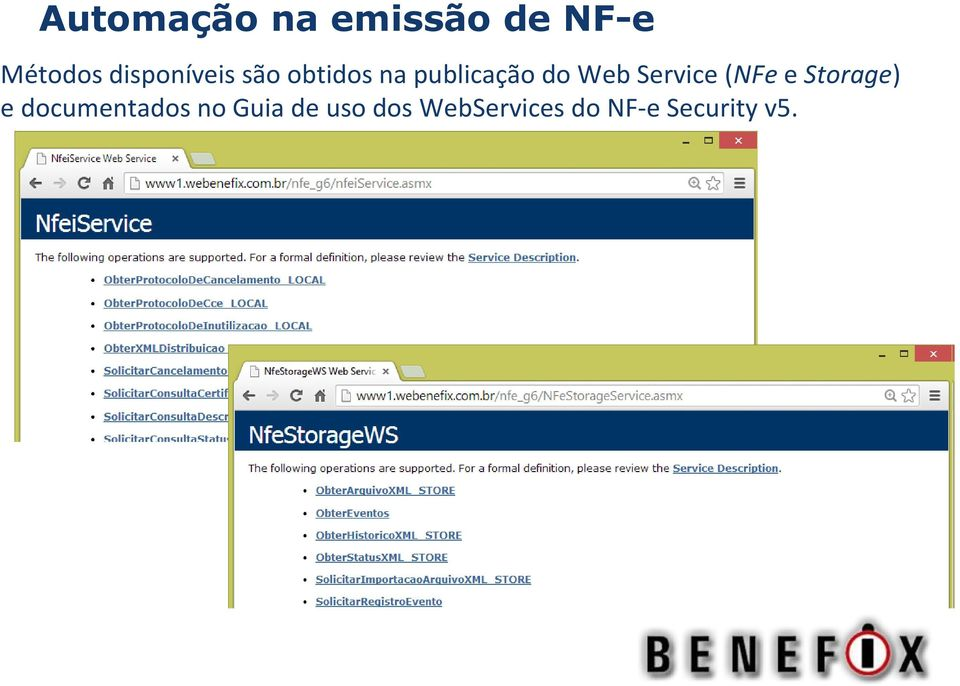 Web Service (NFe e Storage) e documentados