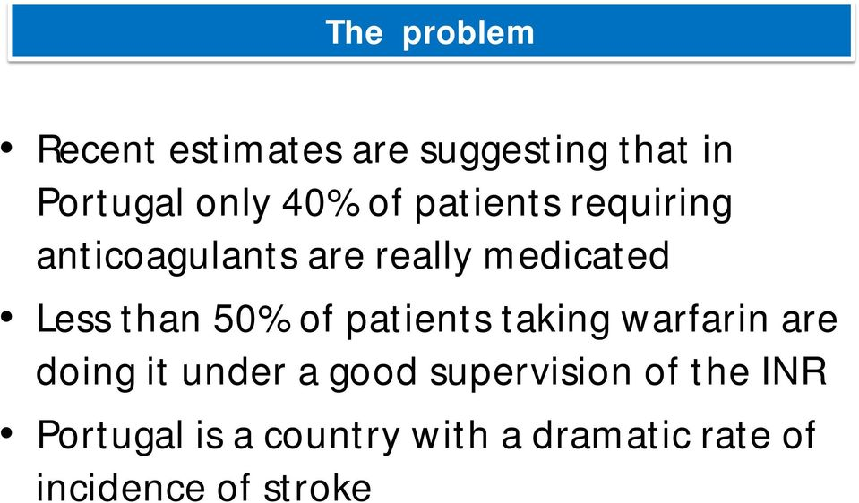 50% of patients taking warfarin are doing it under a good supervision