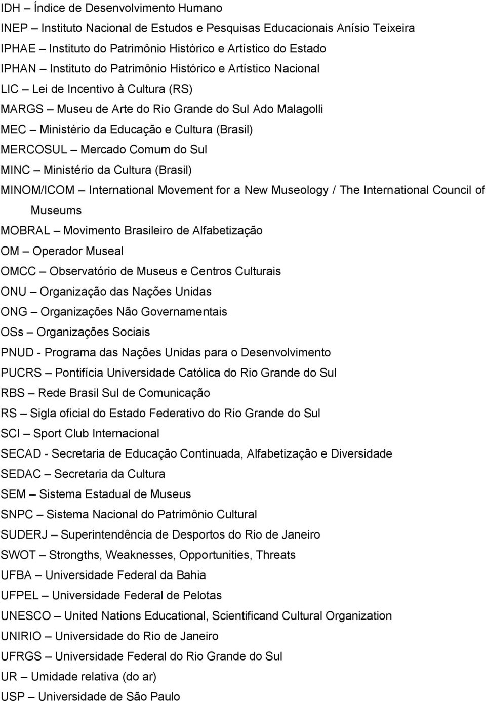Comum do Sul MINC Ministério da Cultura (Brasil) MINOM/ICOM International Movement for a New Museology / The International Council of Museums MOBRAL Movimento Brasileiro de Alfabetização OM Operador
