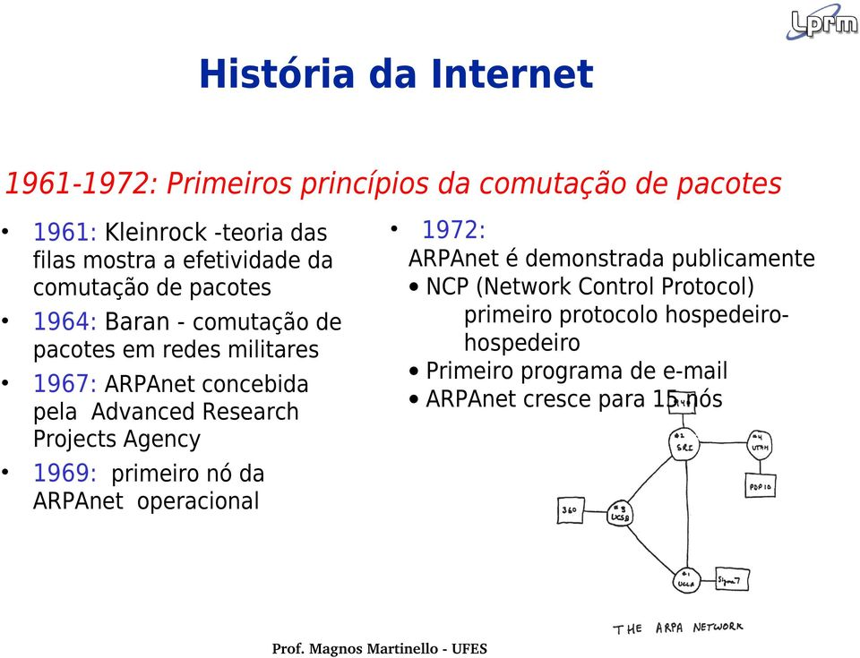 Advanced Research Projects Agency 1969: primeiro nó da ARPAnet operacional 1972: ARPAnet é demonstrada publicamente NCP
