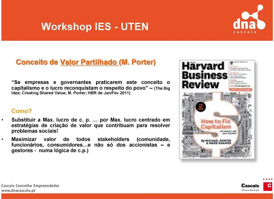 Creating Shared Value; M. Porter; HBR de Jan/Fev 2011) Como? Substituir a Max. lucro de c. p. por Max.