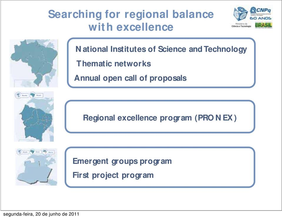 Annual open call of proposals Regional excellence