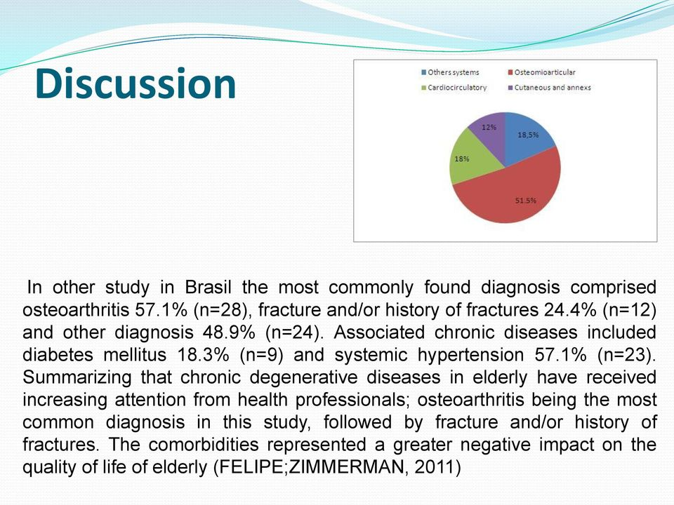 Summarizing that chronic degenerative diseases in elderly have received increasing attention from health professionals; osteoarthritis being the most common
