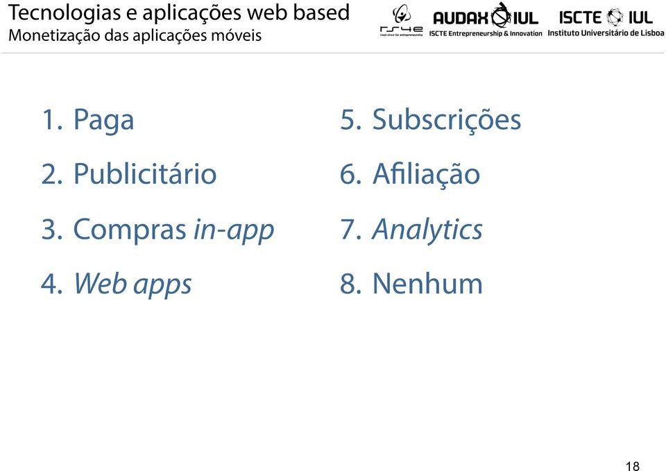 Compras in-app 4. Web apps 5.