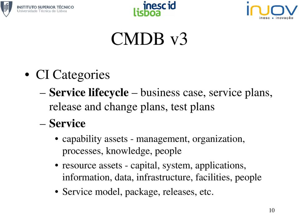 processes, knowledge, people resource assets - capital, system, applications,
