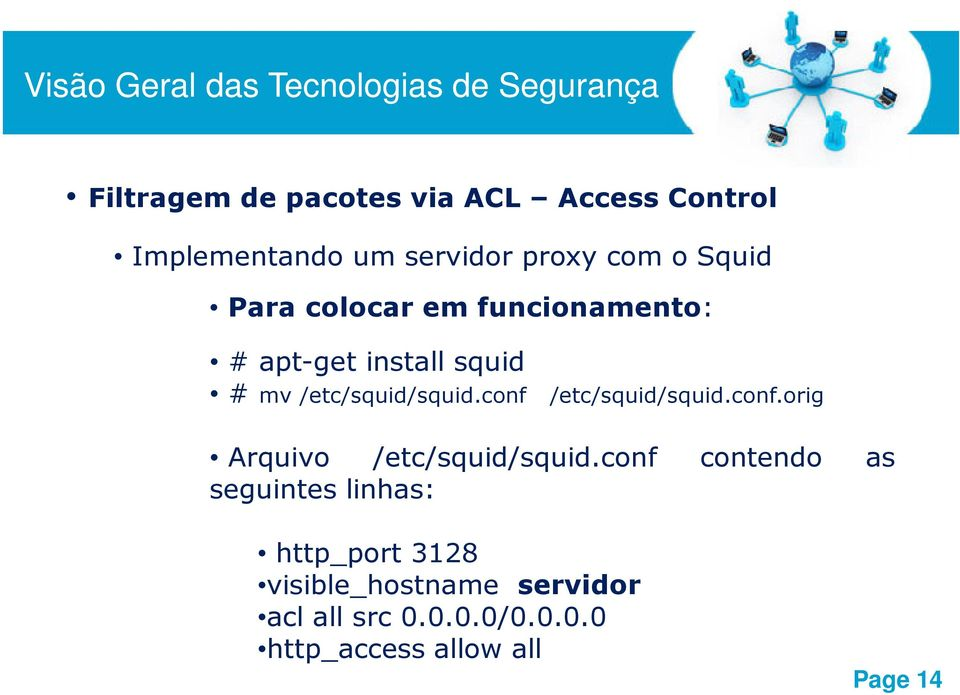 conf /etc/squid/squid.conf.orig Arquivo /etc/squid/squid.