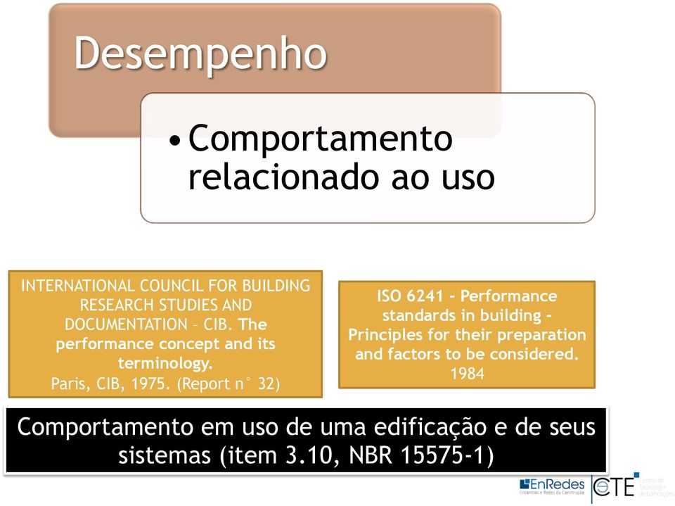 (Report n 32) ISO 6241 - Performance standards in building - Principles for their preparation and