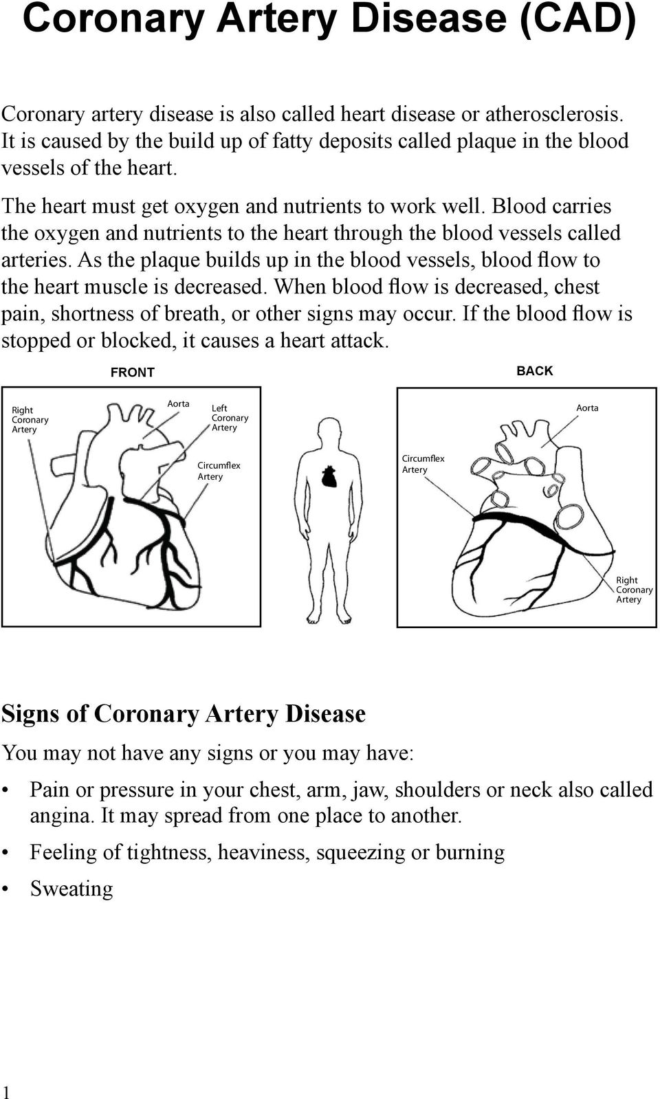 As the plaque builds up in the blood vessels, blood flow to the heart muscle is decreased. When blood flow is decreased, chest pain, shortness of breath, or other signs may occur.