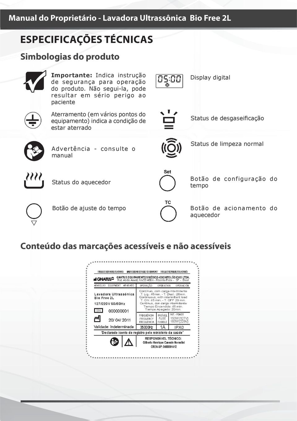 aterrado Display digital Status de desgaseificação Advertência - consulte o manual Status de limpeza normal Status do aquecedor