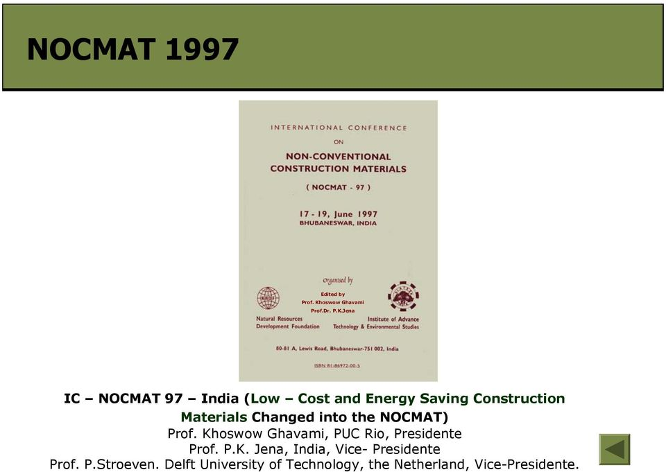 Jena IC NOCMAT 97 India(Low Cost and Energy Saving Construction Materials