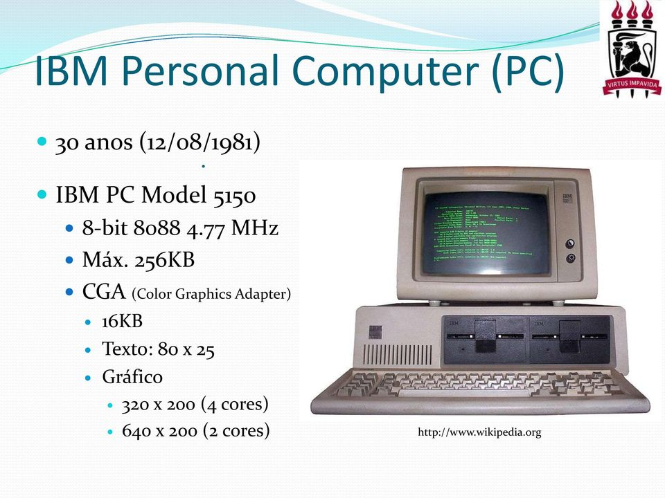 256KB CGA (Color Graphics Adapter) 16KB Texto: 80 x 25