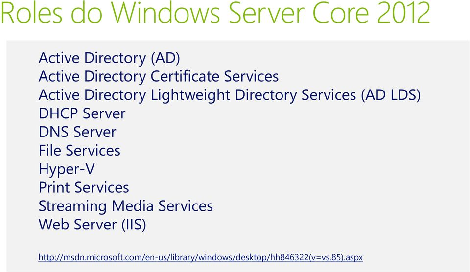 Server DNS Server File Services Hyper-V Print Services Streaming Media Services