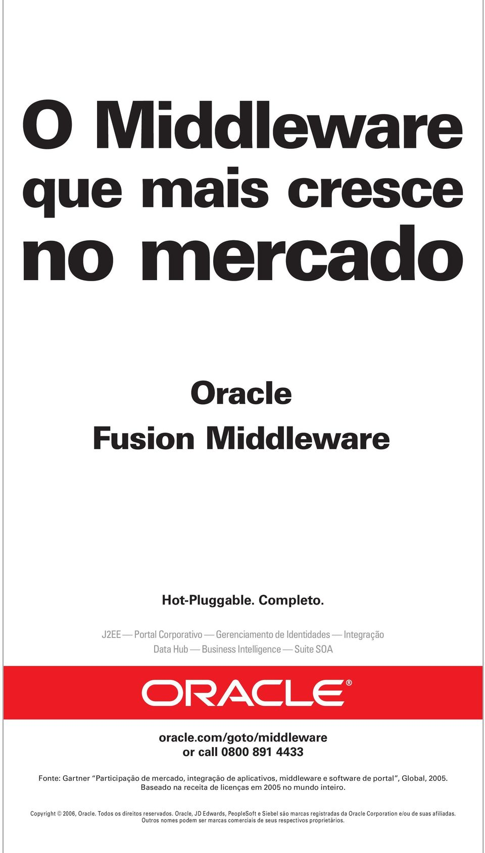 com/goto/middleware or call 0800 891 4433 Fonte: Gartner Participação de mercado, integração de aplicativos, middleware e software de portal, Global, 2005.