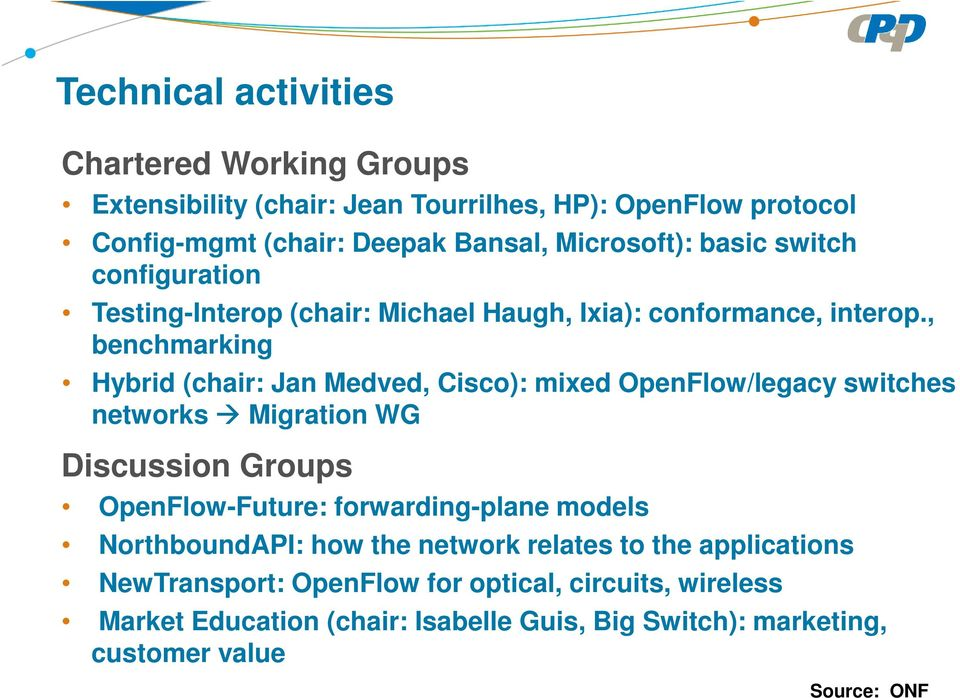 , benchmarking Hybrid (chair: Jan Medved, Cisco): mixed OpenFlow/legacy switches networks Migration WG Discussion Groups OpenFlow-Future: