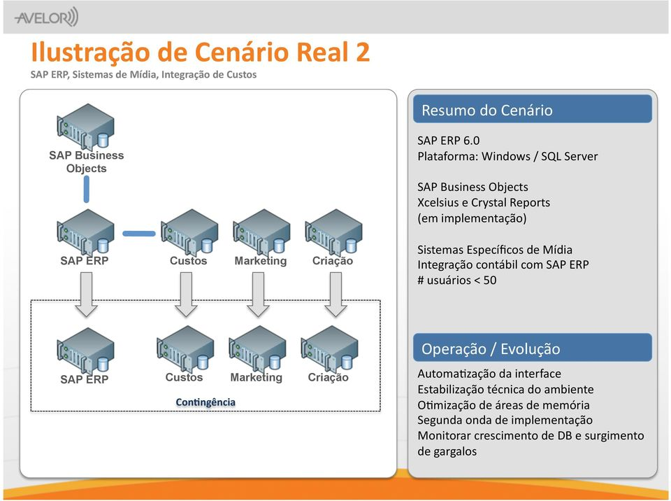 0 Plataforma: Windows / SQL Server SAP Business Objects Xcelsius e Crystal Reports (em implementação) Sistemas Específicos de Mídia Integração