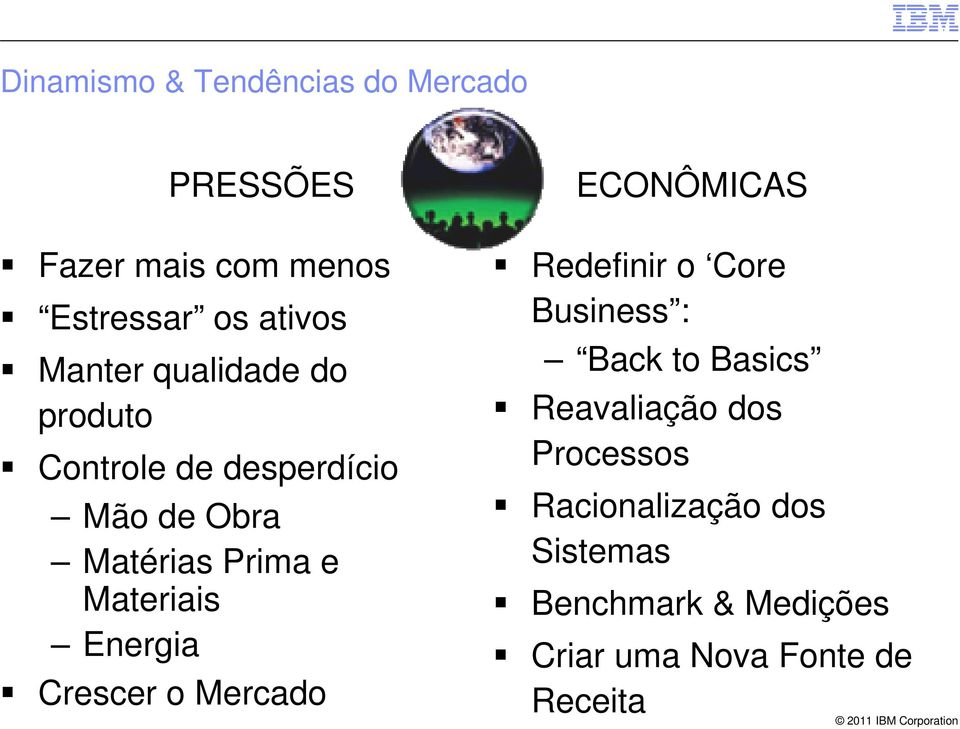 Energia Crescer o Mercado ECONÔMICAS Redefinir o Core Business : Back to Basics