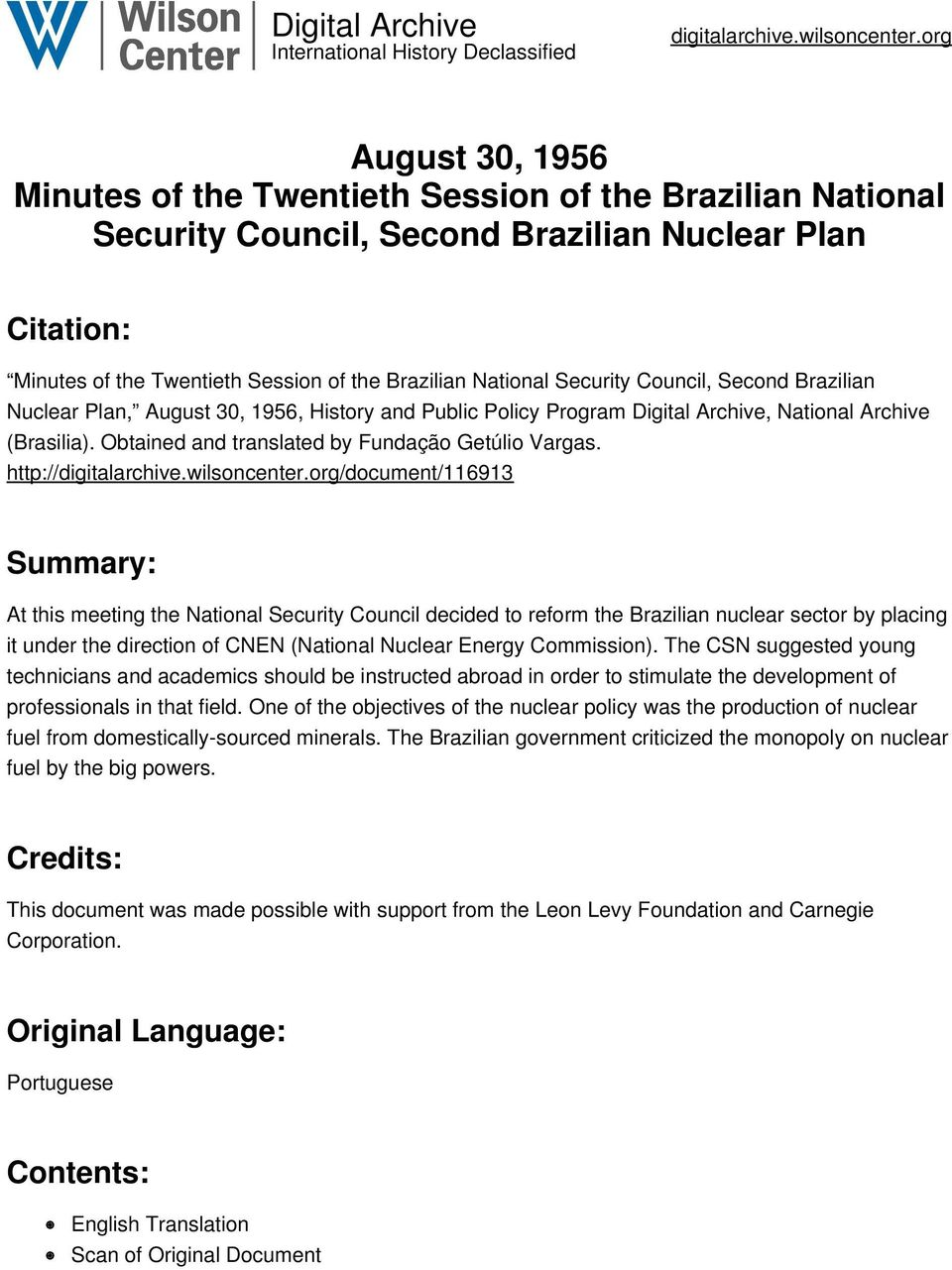 Security Council, Second Brazilian Nuclear Plan, August 30, 1956, History and Public Policy Program Digital Archive, National Archive (Brasilia). Obtained and translated by Fundação Getúlio Vargas.