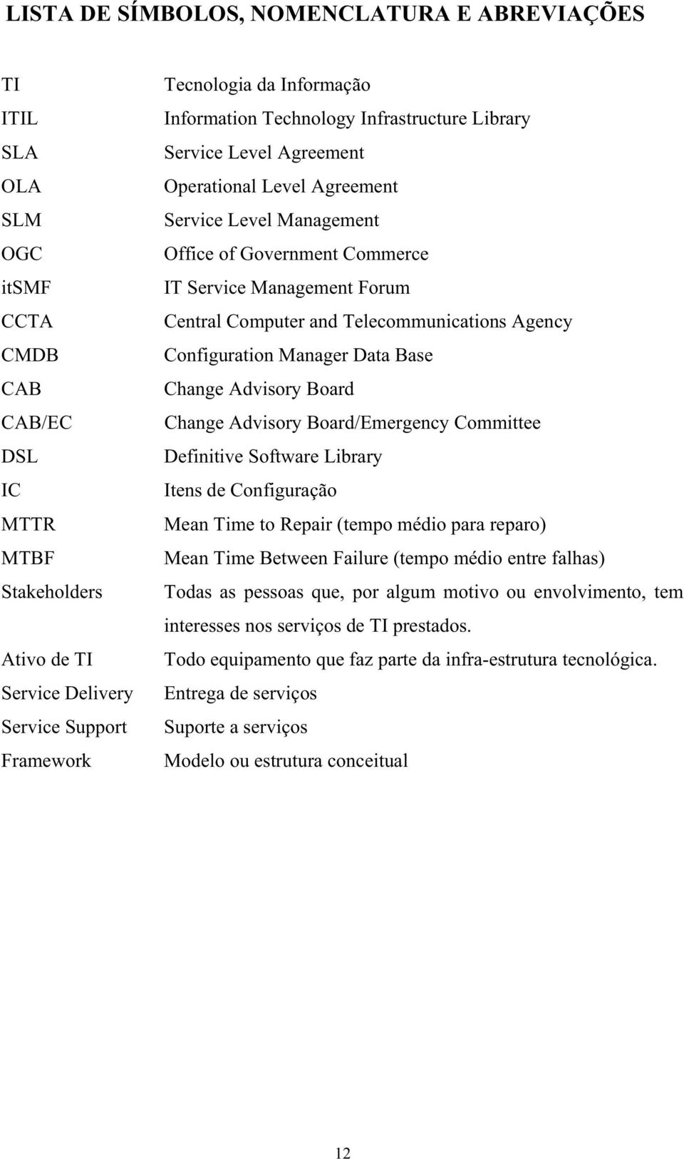Computer and Telecommunications Agency Configuration Manager Data Base Change Advisory Board Change Advisory Board/Emergency Committee Definitive Software Library Itens de Configuração Mean Time to