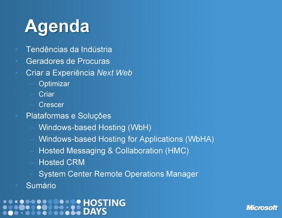 Hosting (WbH) Windows-based Hosting for Applications (WbHA) Hosted
