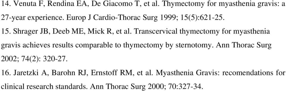 Transcervical thymectomy for myasthenia gravis achieves results comparable to thymectomy by sternotomy.
