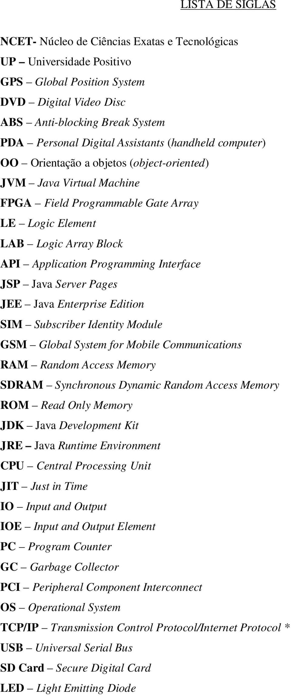 Interface JSP Java Server Pages JEE Java Enterprise Edition SIM Subscriber Identity Module GSM Global System for Mobile Communications RAM Random Access Memory SDRAM Synchronous Dynamic Random Access