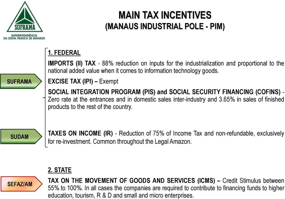 EXCISE TAX (IPI) Exempt SOCIAL INTEGRATION PROGRAM (PIS) and SOCIAL SECURITY FINANCING (COFINS) - Zero rate at the entrances and in domestic sales inter-industry and 3.